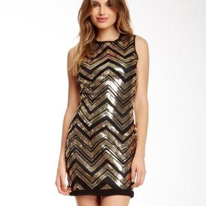 Vince Camuto Chevron Sequin Shift Dress